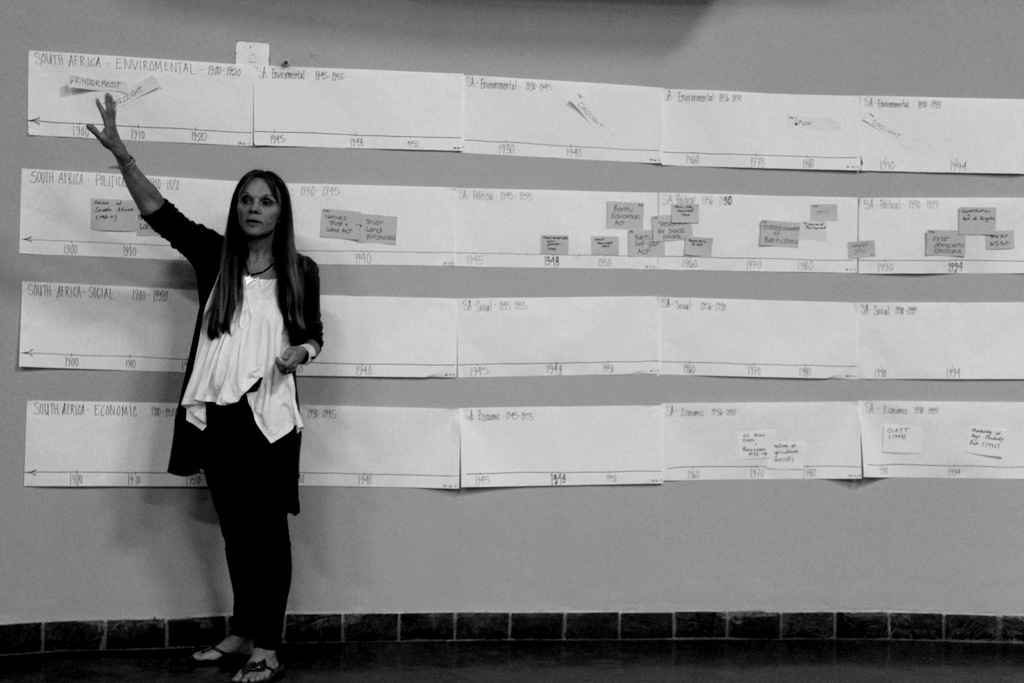 One of AWARD's director's, Sharon Pollard, developing a time line to track key events in South Africa's history that have affected resource management.